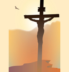 cross with crucified jesus christ in the sunset vector image vector image