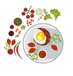 Grilled Steak with an Egg on Plate vector image