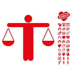 Judge person icon with lovely bonus vector