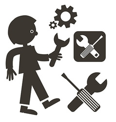 Man with Wrench Icon Tools Symbols Screwdriver - vector image