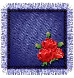 Napkin from jeans fabric with fringe vector