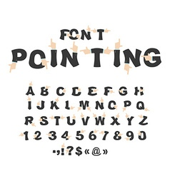 Pointing font hand alphabet businessman hand in vector