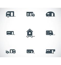 black trailer icons set vector image