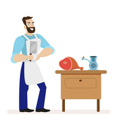 butcher with a kitchen knife for cutting meat is vector image