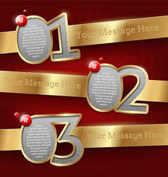 Design templates with numbered golden banners vector image vector image