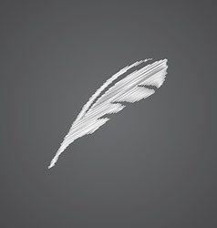 feather sketch logo doodle icon vector image vector image