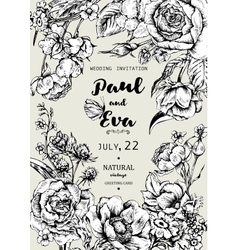 Wedding invitation with wreath of anemones and vector