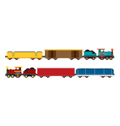 colorful wagons for a train flat style set vector image vector image