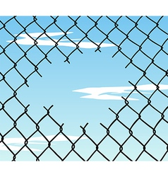 Cut wire fence with blue sky background vector image