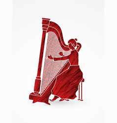 harp player musician play lyre vector image