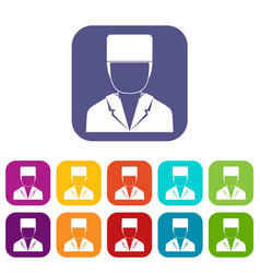 Medical doctor icons set flat vector