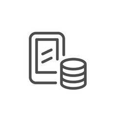 mobile banking line icon vector image