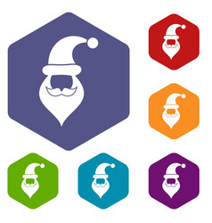 santa hat mustache and beard simple style vector image