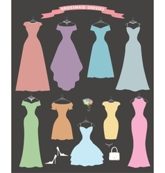 Wedding bridesmaid dress setFlat designBridal vector image