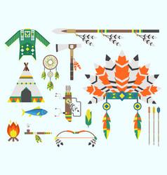 wild west american indian designed element vector image