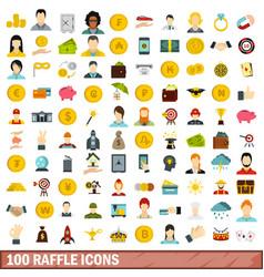 100 raffle icons set flat style vector image