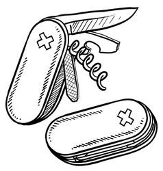 doodle pocket knife handy vector image vector image