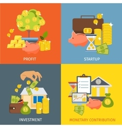 Flat Investment Icon Set vector image