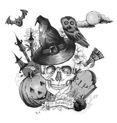 Monochrome Vintage Halloween Invitation Card with vector image