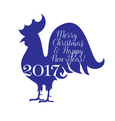 postcard rooster silhouette new year vector image