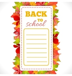 School Schedule with leaves vector image vector image