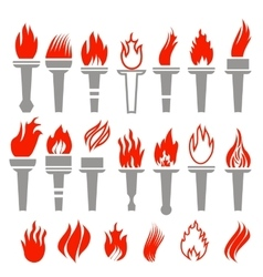 Set of Torch Icon Isolated vector image vector image