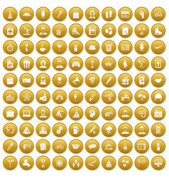 100 team building icons set gold vector