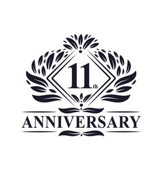11 years anniversary logo luxury floral 11th vector
