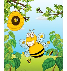 A bee and beehive vector