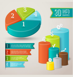 Abstract 3D infographics template vector image