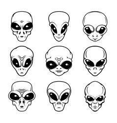 Alien head in monochrome style design element vector