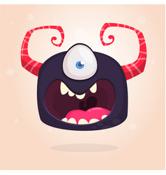 angry bllack cartoon monster with one eye vector image