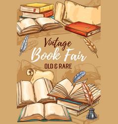 antique shop vintage books fair sketch poster vector image