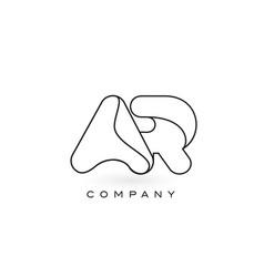 Ar monogram letter logo with thin black monogram vector