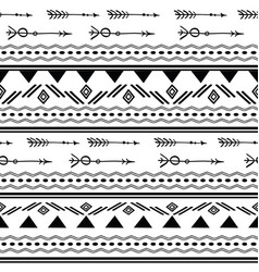 Arrows tribal black and white seamless pattern vector