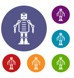 artificial intelligence robot icons set vector image