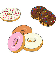 Assorted donuts with chocolate frosted pink vector