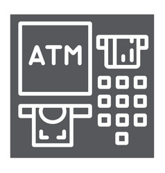 Atm glyph icon finance and cash banking machine vector