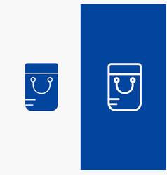 bag handbag school line and glyph solid icon blue vector image