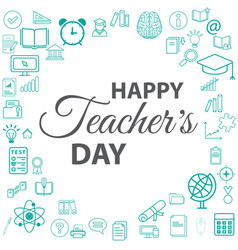banner or poster for happy teacher day vector image