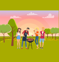 Barbecue picnic on green nature cheerful friends vector