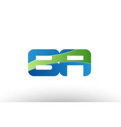 Blue green ba b a alphabet letter logo vector