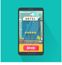 booking hotel via mobile phone vector image