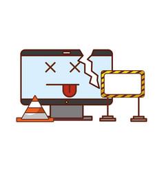 Broken computer under construction website vector