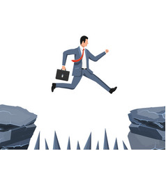 Businessman jumps to goal through abyss vector