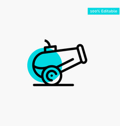 Canon weapon turquoise highlight circle point icon vector
