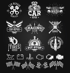 Car service labels emblems and logos chalk drawing vector
