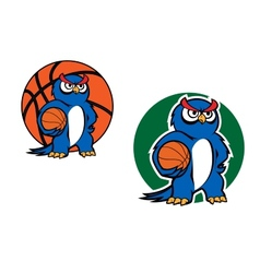 Cartoon blue owl character with basketball ball vector image