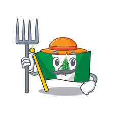 Cheerfully farmer flag norfolk island cartoon vector