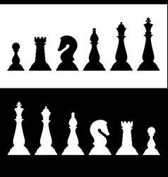 Chess pieces black silhouettes set business vector